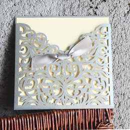 Wholesale Gray Invitations - Wholesale- Newest Design Gray Laser Cut Wedding Invitation Card Ribbon Bow Elegant Laser Cut With Lace Side High Quality 50 Pcs Lot