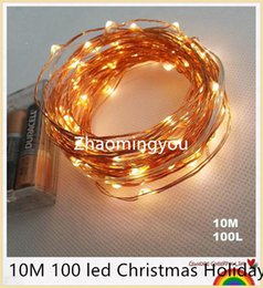 Wholesale Battery Solar 12v Dc - YON AA Battery Operated 33FT 10M 100 led Christmas Holiday Wedding Party Decoration Festi LED Copper Wire String Fairy Lights Lamps