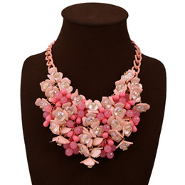 Wholesale Enamel Link Necklace - low price Fashion 6 colors small floral necklace accessories2016 Popular Thin Clavicle Chain Necklace Pendant Necklace collier exaggerated