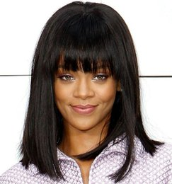 Wholesale Medium Length Straight Hair Wigs - Mid-length Natural Black Human Hair Lace Wigs with Bang Bob Style Straight Full Lace Wigs Front Lace Wigs Bella Hair