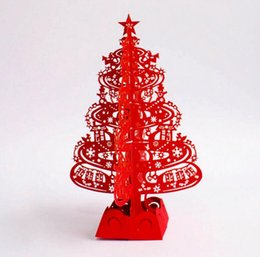 Wholesale Christmas Laser Cut Greeting Cards - Pink Red Merry Christmas Tree 3D laser cut pop up paper handmade custom greeting cards Christmas gifts