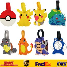 Wholesale Plastic Luggage Labels - DHL New Poke Go Pikachu Luggage ID Tags Labels Travel Boarding Adress ID Card Case Bag Collectibles Keychain Key Rings Toys Gifts ZJ-T05