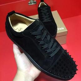Offre Spéciale 2017 Daim Noir Strass Strass Rouge Bas Chaussures Hommes Femmes Flat Red Sole Chaussures High-Top Sneaker Chaussures À Lacets Casual 47 ? partir de fabricateur