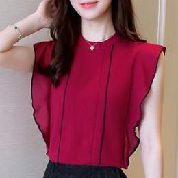 Wholesale chiffon korean women fashion - Summer Women Blouse Korean Stand Collar Solid Shirts Fashion Ruffle Chiffon Shirt Sleeveless Blusas Slim Tops 10 Colors