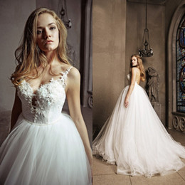 Wholesale Size 13 Wedding Dress - Sexy Lace Tulle Ball Gown Wedding Dress 2017 A Line Spaghetti Straps Beaded Lace Appliques Pearls Puffy Tulle Bridal Gowns LS 31-13
