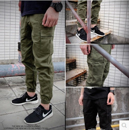 Wholesale Black Military Pants Men - Wholesale-mens joggers 2016 New skinny men pants army green hip hop jogger pants military camo harem pants men cargo pants justin bieber