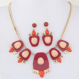 Wholesale Statement Necklace Orange - Bijoux Femme Vintage African Jewelry Set Resin Geometric Pendant Statement Jewelry Sets Turiksh Necklace Earrings Set For Women