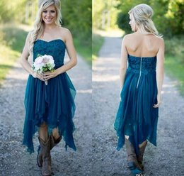 Wholesale Teal Strapless Lace Dress - Teal High Low Country Style Bridesmaid Dresses 2016 Strapless A Line Vintage Lace Chiffon Maid Of Honor Gowns Formal Party Gowns for Wedding