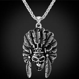 Uomini pendenti d'oro online-collana pendente punk di Halloween India uomini cranio in acciaio inossidabile placcato oro uomini dichiarazione rock pendent collana scheletro americano P271