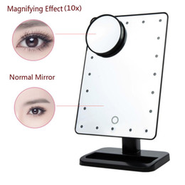 Wholesale Lighted Magnified Makeup Mirrors - Adjustable 20 LEDs Lighted Makeup Mirror Touch Screen Portable Magnifying Vanity Tabletop Lamp Cosmetic Mirror Make Up Tool