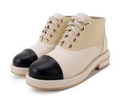 Wholesale Roman Sweets - Sweet Chic Lady Beige Lace Up Patchwork Lace Up Chunky Heels Ankle Boots 2017 New Size 35 To 39