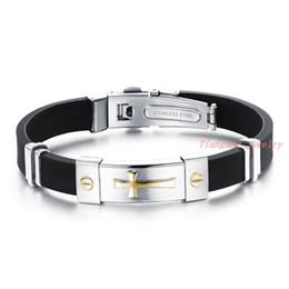 Wholesale Rubber Cross Bracelets - Wholesale New Fashion Jewelry Men Stainless Steel Bracelets Cool Gold Cross shape Male Accessories Silicone Rubber Bracelet for Men