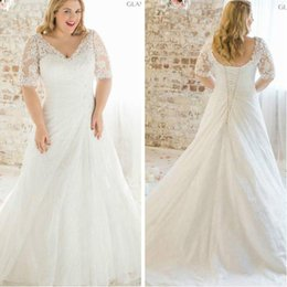 Wholesale Lace Bridal Gowns Size 22 - 2016 New Plus Size Lace Short Sleeve Wedding Dress White Ivory A Line Chiffon Bridal Gown Custom Size 2 4 6 8 10 12 14 16 18 20 22 24 26 28