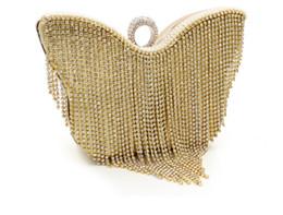 Wholesale Silver Bridal Party Evening Bags - Women Evening Clutch Bag Crystal Rhinestone Purse Wallet Handbag Wedding Bridal Ring Handbag Metal Hard Box Makeup Kit Party Prom Gold Bags
