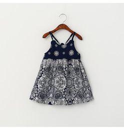 Wholesale Retro Baby Dresses - Girls Summer 2016 Fashion Dresses Kids European and American Style Retro Printing Princess Dress Baby Strap Collar Dress BH1976