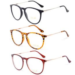 Marcos de gafas unisex de metal redondo online-Retro Moda 2016 Gafas Mujeres Gafas Vintage Redondo Lente Transparente Marco Piernas de Metal de Alta Calidad Unisex Llanura Gafas Gafas