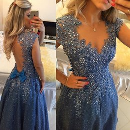 Wholesale Empire Cut Gown Plus Size - Pearls Beaded V Neck Blue Lace Prom Dress 2016 Sparkly Jeweled Lace Cut Out Prom Gown