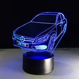 Wholesale Car Candles - Cool 3D Car Auto Optical Illusion Lamp DC 5V USB Powered AA Battery Wholesale Dropshipping Free Shipping Retail Box