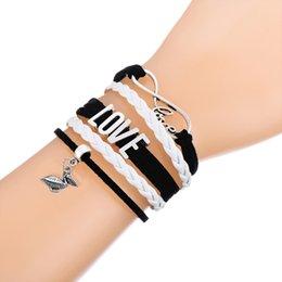 Wholesale Bird Wrap - Custom-New Infinity Love Ocean Pelican Bird Charm Bracelet Wax Cords Wrap Braided Leather Adjustable Bracelet Bangles-Drop Shipping