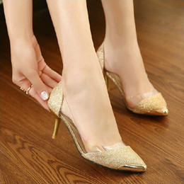 Wholesale Large Sized Ladies Shoes - Free Shipping New Fashion Women's Pointed Toe High Heel Shoes Large Size Sequined Dress Shoes Joker Elegant Office Lady Stiletto Heel P