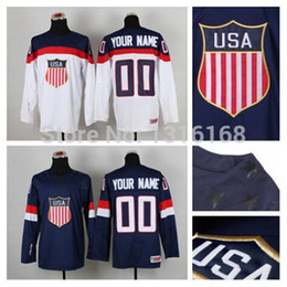 Wholesale Cheap Custom Team Jerseys - Team USA Custom Jersey Men's Blue White Customized American Jersey Ice Hokcey Jerseys Cheap Stitched Logo Fast