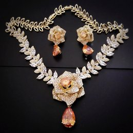Wholesale Planting Peony Roses - peony rose wedding Jewelry set cubic zircons with little rhinestones 18k yellow gold plated 3 colors available 2017 Rihood Jewelry