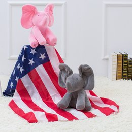 Wholesale Elephant Toys - dog toys Peek a Boo Funny Plush Elephant Doll Hide and See Electrical Musical Plush Soft Battery Operated Christmas Halloween Dog Toy