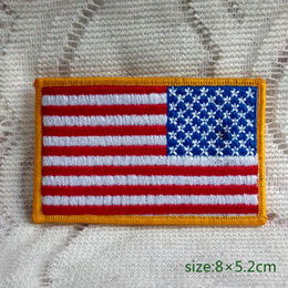 Wholesale Military American Flag - USA AMERICAN REVERSE FLAG TACTICAL US ARMY MORALE MILITARY BADGE V Iron on Embroidered patch Gift shirt bag trousers coat Vest Individuality