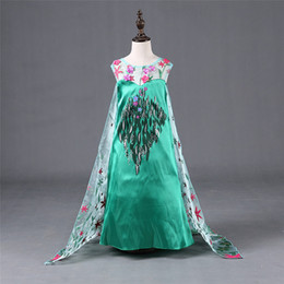 Wholesale Kids Stage Clothing - 2015 Frozen Fever Girl Elsa Anna princess Dress Kids Summer Gauze Clothing Short Sleeve White Lace green dress Cinderella dress A15040301