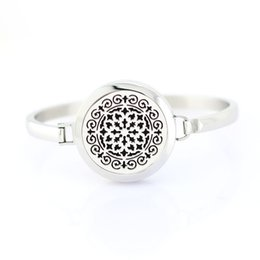 Wholesale Wholesale Locket Bracelet - 9 Styles High Quality Silver Moroccan Flourish 316L Stainless Steel Screw 25mm Aromatherapy Essential Oil Diffuser Locket Bangle Bracelet