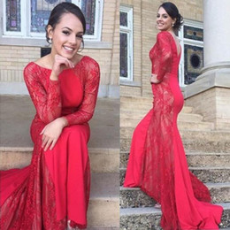 Wholesale Trumpet Silhouette Dress - 2016 Latest Red Mermaid Silhouettes Prom dresses Scoop Neck Long Sleeves Formal Evening Dresses Sheer Illusion Lace Party Gowns Custom Made