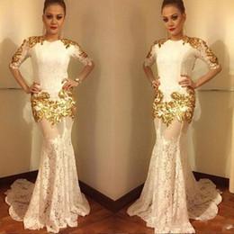 2020 falda media sirena Vestidos de noche de encaje de oro de la sirena de la vendimia medias mangas largas sexy ver a través de falda barrido tren vestidos de fiesta de baile para mujeres árabes falda media sirena baratos