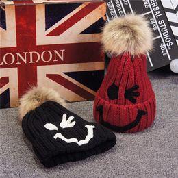 Wholesale Bobble Man - Real Rabbit Fur Pompon Autumn & Winter Beanie Winter Warm Wool Knit Crochet Raccoon Fur Beanie Pom Bobble Ski Hat Cap Braided Crochet Beanie