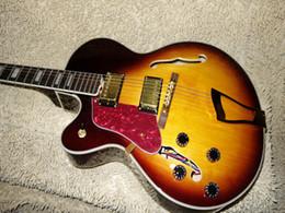 Wholesale Left Handed Guitar Sunburst - new Fire Burst Hollow L-5 Left Handed Jazz Guitar Top Musical instruments
