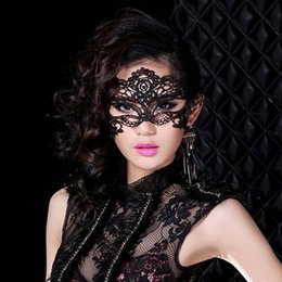 Wholesale Masquerade Dresses For Prom - Sexy Black Lace Venetian Mask Masquerade Ball Prom Halloween Costume Party Costume Fancy Dress Cosplay Mask 160929