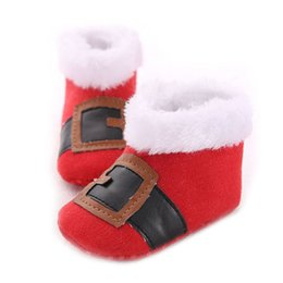 Wholesale Wholesale Baby Boots - New Baby Walking Boots Christmas Shoes Gift Cotton Fabric Anti-slip Soft Sole Snow Boot Infant Shoes