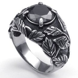 Wholesale Great Paragraph - 073526-Wholesale Leaves inlaid zircon ring titanium steel men's jewelry trend Men paragraph 316L stainless steel die-casting US size:8-12