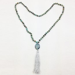 Wholesale Turquoise Rope Necklace - ST0299 Mala Yoga Necklace 38 inches Personalized African Turquoise Knotted Necklace Women Tassel Neckalce witha agate stone pendant