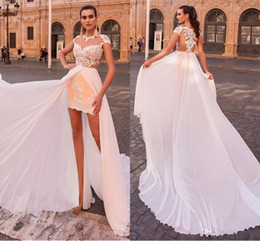 Wholesale Sleeved Lace Backless Wedding Dress - 2018 New Sheer Jewel Neck A Line Wedding Dresses High Low Cap Sleeved Bridal Gowns with Chiffon Detachable Train