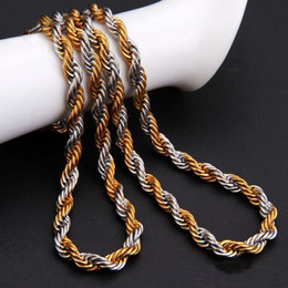 Wholesale 22 Gold Necklace - 2.5mm Gold Twist Chains Necklaces For Men Titanium Steel Rope Chain Necklace 20 22 24inch Jewelry wholesale Free Shipping- 0011LDN