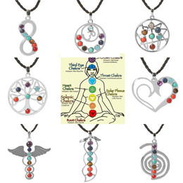 Wholesale Love Heart Wing Necklace - Love Heart Infinity Wings Seven Beads Natural Quartz Gemstones Stone Pendant Necklace Meditation Healing Point Chakra Reiki Pendent Necklace
