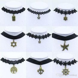 Wholesale Lace Ribbon Chokers - 30 Styles Gothic Style Vintage Hollow-Out Flower Lace Collar Velvet Ribbon Neckband Bell Starfish Tattoo Statement Choker Necklace