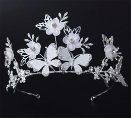 Wholesale Wedding Bridal Tiaras Butterfly - Wedding Bridal Princess Crown Tiara Hair Accessories Headband Crystal Rhinestone Butterfly Headpiece Flower Headdress Jewelry Vintage Band