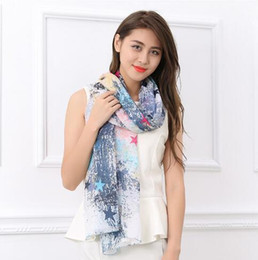 Wholesale Scarves Korea - Novelty Cotton Print Scarves Lady Winter Wraps Scarf Soft Breathable Shawls Woman Star Scarf Korea Design 2016 ZS0002
