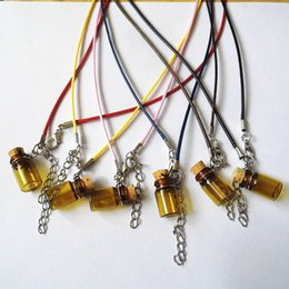 Wholesale Bottle Sweater - Bottle Necklaces For Women Wishing Bottle Long Leather Rope Sweater Necklace bottle pendants essential oil diffuser necklace
