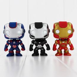 Wholesale Iron Man Funko - FUNKO POP Avengers Iron Man PVC Action Figure Collection Toy Doll 9.5cm 3 style you can choose Free Shipping EMS