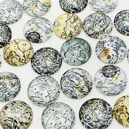 Wholesale 25mm Glass Dome Cabochon - wholesale 20 pcs mix Steampunk gear Pattern Round Glass Cabochon 20mm 25mm Dome Flat Back DIY Jewery Finding KB1301