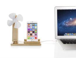 Wholesale Cooling Dock Fan - USB Cool Fan Natural Wood Stand Station Dock Platform Cradle 2 in 1 Phone Holder for iphone samsung