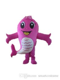 Wholesale Custom Advertising Mascot - SW0409 Good vision and good Ventilation pink fish mascot costume for adult to wear for promotion advertising