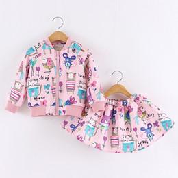 Wholesale Next Jacket - Retail 2016 Spring and autumn next Cartoons graffiti Long sleeve Brand Girls Clothing Sport Suits Toddler ( Jacket + Skirt )